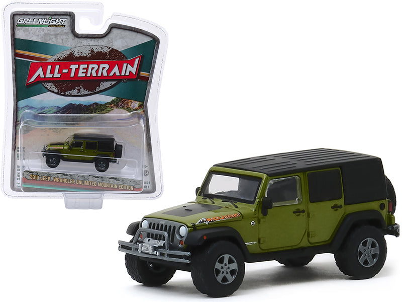 "2010 Jeep Wrangler Unlimited Mountain Edition Rescue Green Metallic with Black Top ""All Terrain"" Series 9 1/64 Diecast Model Car - Greenlight - 35150E"