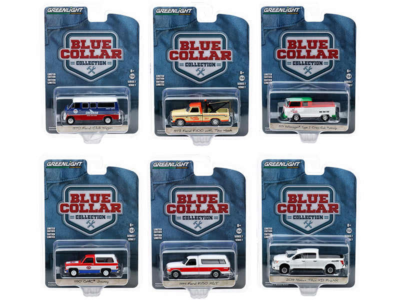 """Blue Collar Collection"" Set of 6 Models Series 7 Diecast 1:64 Cars - Greenlight - 35160SET"