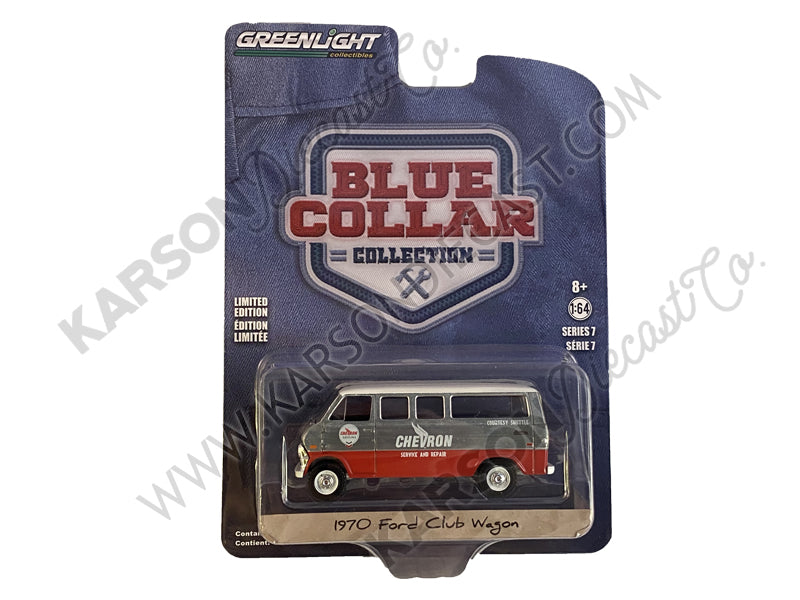"CHASE 1970 Ford Club Wagon Van ""Chevron Service & Repair Courtesy Shuttle"" Blue and Red with White Top ""Blue Collar Collection"" Series 7 Diecast 1:64 Model - Greenlight - 35160A"
