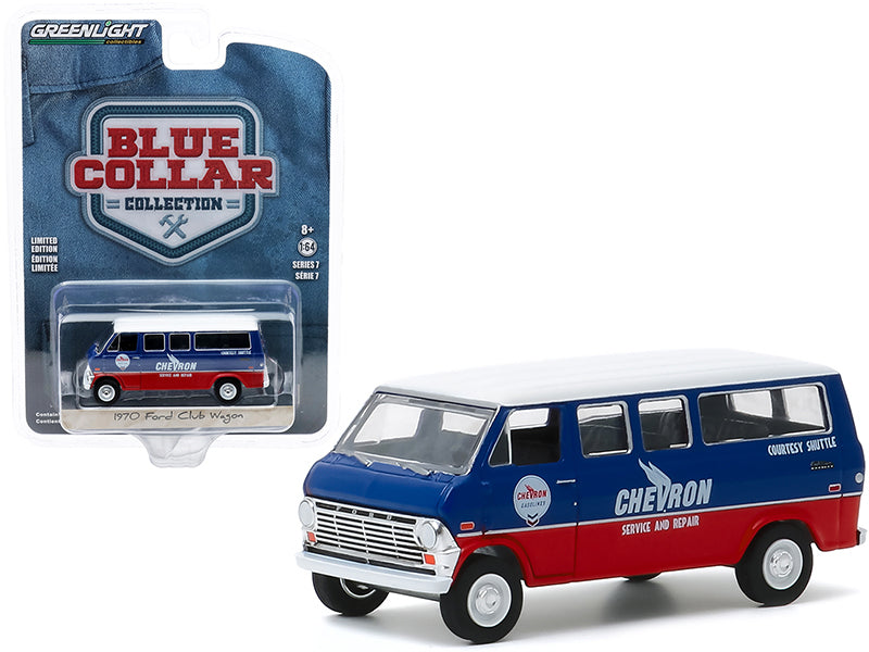 "1970 Ford Club Wagon Van ""Chevron Service & Repair Courtesy Shuttle"" ""Blue Collar Collection"" Series 7 Model 1:64 Diecast Car - Greenlight - 35160A"