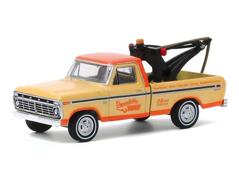 "1973 Ford F-100 Tow Truck w/ Tow Hook ""Dependable Tow"" ""Blue Collar Collection"" Series 7 Model 1:64 Diecast Car - Greenlight 35160B"