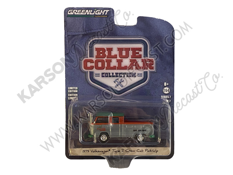 "CHASE 1979 Volkswagen Type 2 Crew Cab Pickup Truck ""Turtle Wax"" White and Red with Green Top ""Blue Collar Collection"" Series 7 Diecast 1:64 Model Car - Greenlight 35160C"