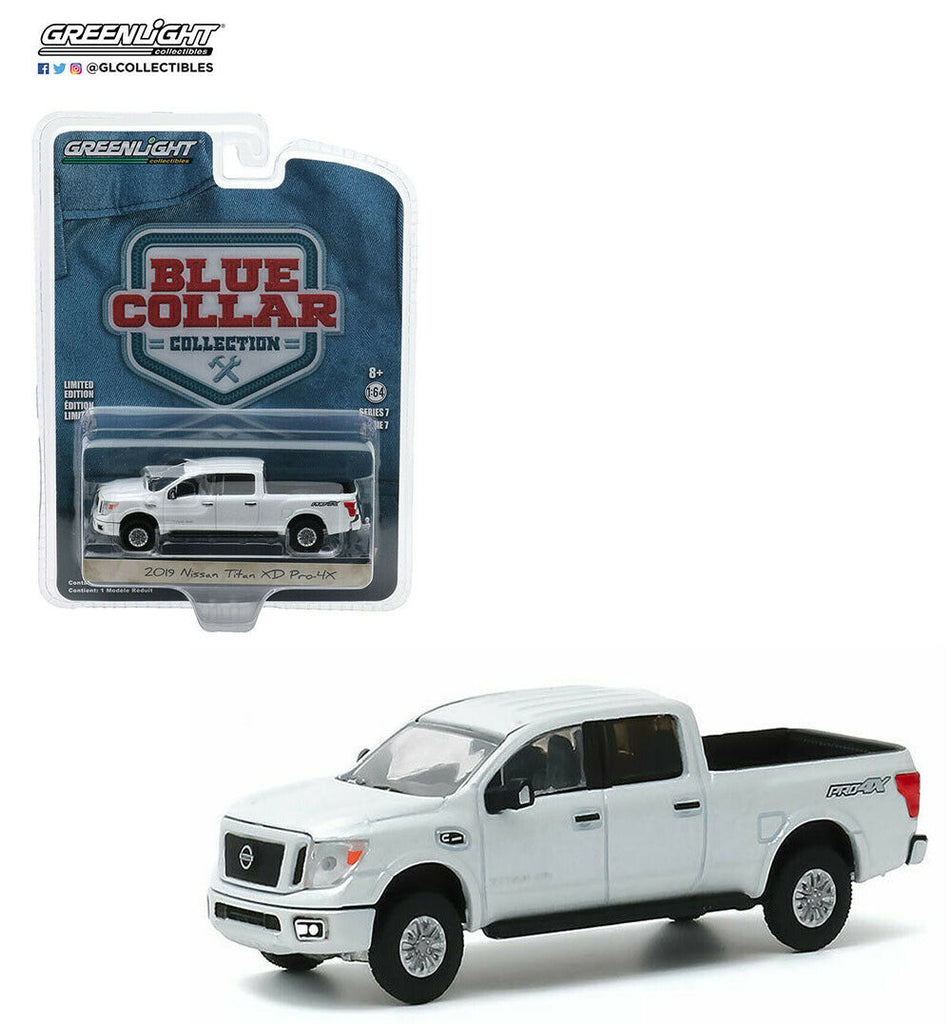 "2019 Nissan Titan XD Pro-4X Pickup Truck Pearl White ""Blue Collar Collection"" Series 7 Diecast 1:64 Model Car - Greenlight - 35160F"