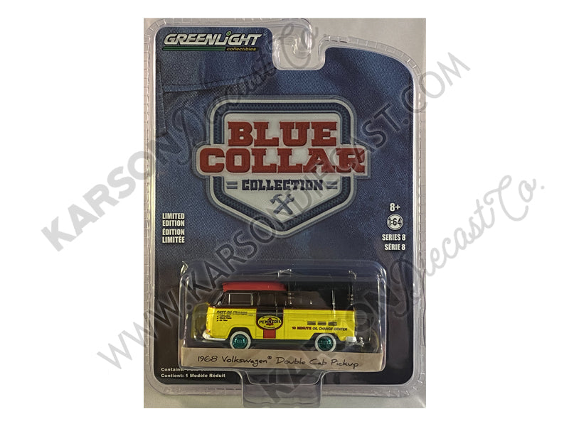 "CHASE 1968 Volkswagen Doka Double Cab Pickup Truck with Canopy ""Pennzoil Oil"" Yellow and Black with Red Top ""Blue Collar Collection"" Series 8 Diecast 1:64 Model Car - Greenlight - 35180A"