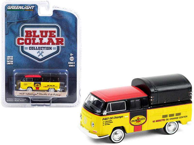 "1968 Volkswagen Doka Double Cab Pickup Truck with Canopy ""Pennzoil Oil"" Yellow and Black with Red Top ""Blue Collar Collection"" Series 8 Diecast 1:64 Model Car - Greenlight - 35180A"