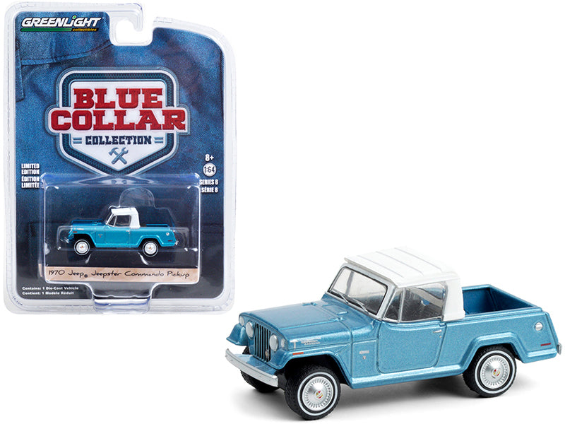 "1970 Jeep Jeepster Commando Pickup Truck Light Blue Metallic with White Top ""Blue Collar Collection"" Series 8 Diecast 1:64 Model Car - Greenlight - 35180B"