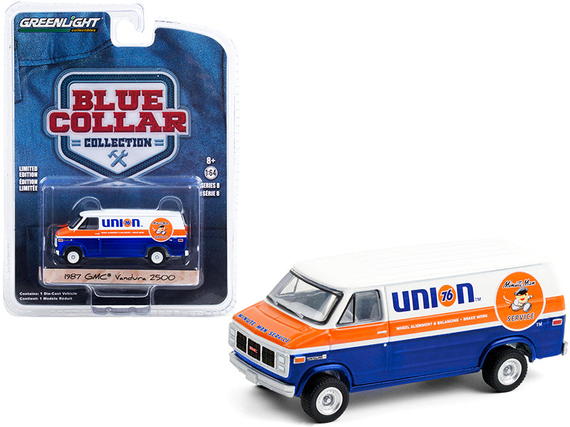 "1987 GMC Vandura 2500 Van ""Union 76 Minute Man Service"" Blue and White with Orange Stripe ""Blue Collar Collection"" Series 8 Diecast 1:64 Model Car - Greenlight - 35180E"