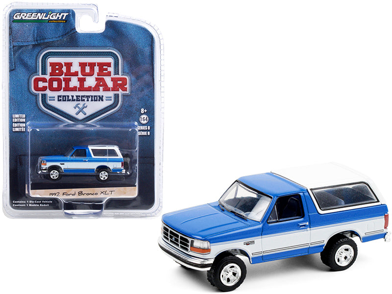 "1992 Ford Bronco XLT Bright Regatta Blue and White ""Blue Collar Collection"" Series 8 Diecast 1:64 Model Car - Greenlight - 35180F"