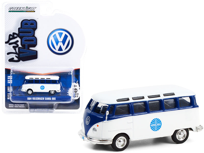 "1964 Volkswagen Samba Bus ""Pan Am Airways"" Blue and White ""Club Vee V-Dub"" Series 12 Diecast 1:64 Model - Greenlight 36020A"