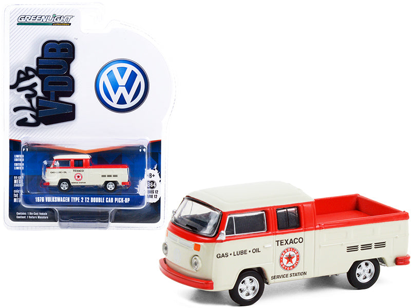 "1976 Volkswagen T2 Type 2 Double Cab Pickup Truck ""Texaco Service"" Cream and Red ""Club Vee V-Dub"" Series 12 Diecast 1:64 Model Car - Greenlight 36020D"