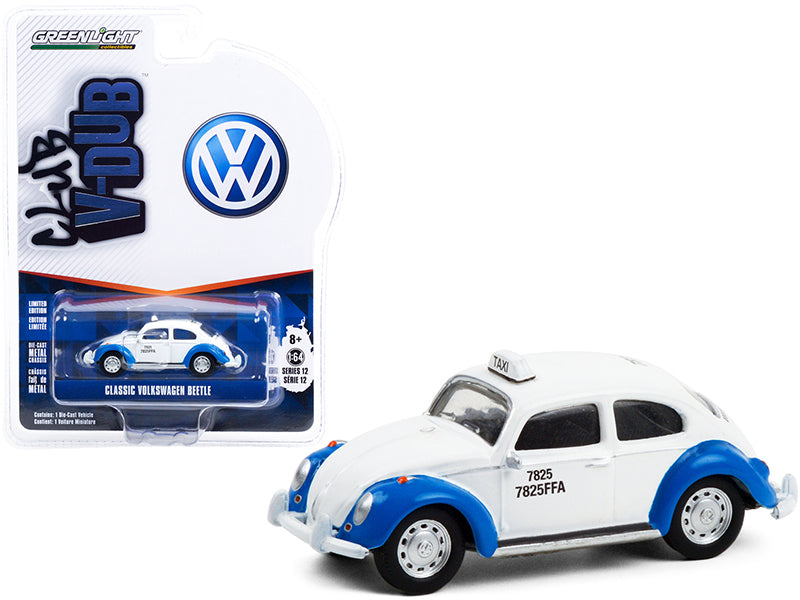 "Classic Volkswagen Beetle White and Blue Acapulco Taxi (Mexico) ""Club Vee V-Dub"" Series 12 Diecast 1:64 Model Car - Greenlight 36020F"