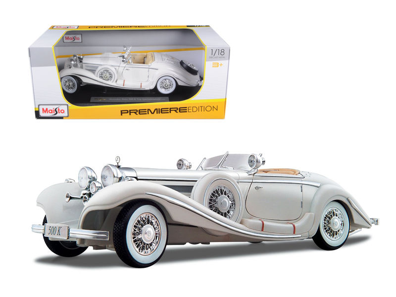 1936 Mercedes 500K Special Roadster White 1:18 Diecast Model Car - Maisto - 36055