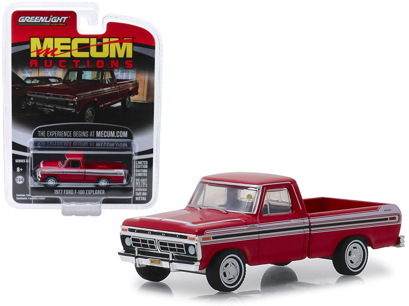 "1977 Ford F-100 Explorer Pickup Truck Red w/ White Stripes (Kissimmee 2018) ""Mecum Auctions Collector Cars"" Series 3 1:64 Diecast Model Car - Greenlight - 37170F"