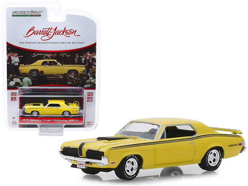 "1970 Mercury Cougar Eliminator 428 CJ Yellow with Black Stripes (Lot #2048) Barrett Jackson ""Scottsdale Edition"" Series 4 1/64 Diecast Model Car - Greenlight - 37180A"