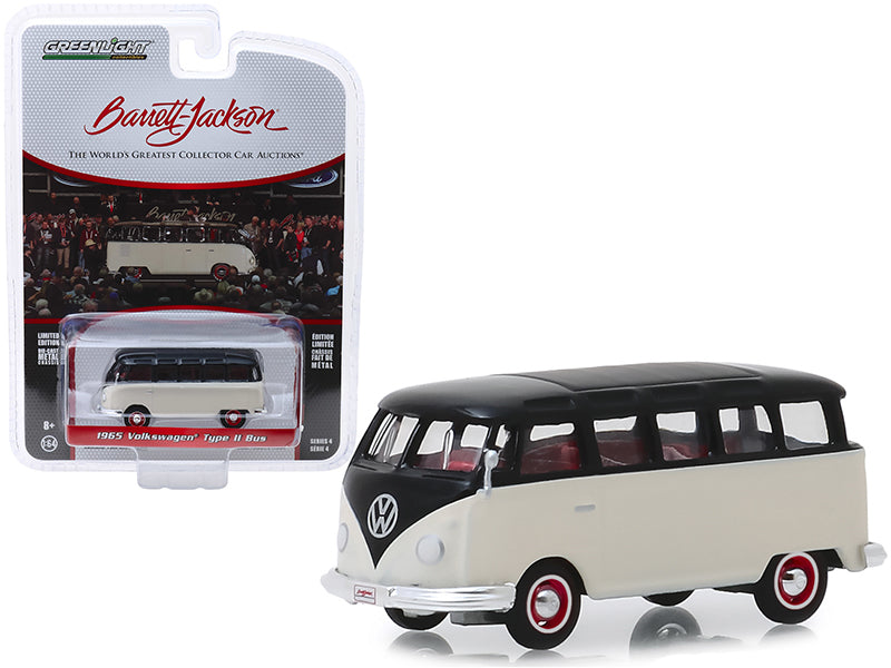 "1965 Volkswagen Type II 21-Window Deluxe Bus Cream and Black (Lot #1315) Barrett Jackson ""Scottsdale Edition"" Series 4 1/64 Diecast Model Car - Greenlight - 37180B"
