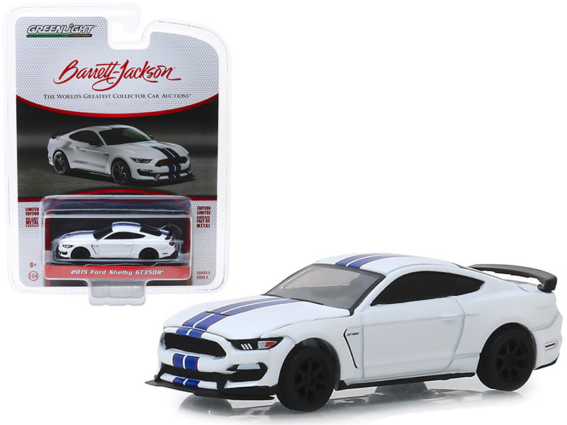 "2015 Ford Mustang Shelby GT350R White with Blue Stripes VIN #001 (Lot #3008) Barrett Jackson ""Scottsdale Edition"" Series 4 1/64 Diecast Model Car - Greenlight - 37180F"