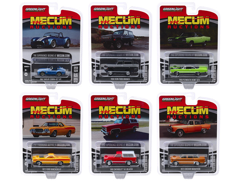 """Mecum Auctions Collector Cars"" Series 4, Set of 6 pieces 1/64 Diecast Model Cars by Greenlight - 37190SET"