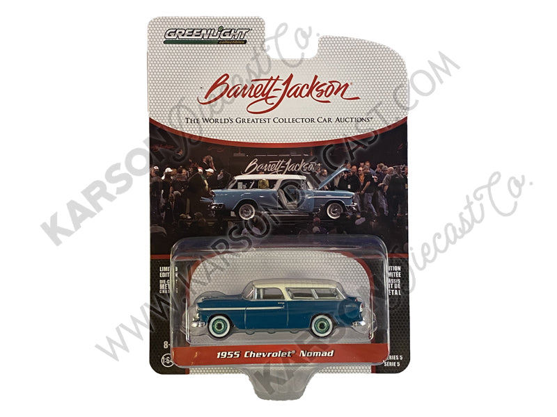 "CHASE 1955 Chevrolet Nomad Green with Cream Top Barrett Jackson ""Scottsdale Edition"" Series 5 Diecast Model 1:64 Cars - Greenlight - 37200A"