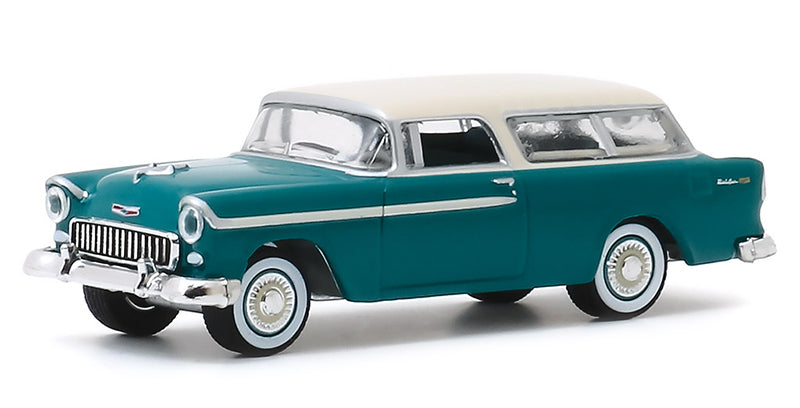 "1955 Chevrolet Nomad Green with Cream Top Barrett Jackson ""Scottsdale Edition"" Series 5 Diecast Model 1:64 Cars - Greenlight - 37200A"