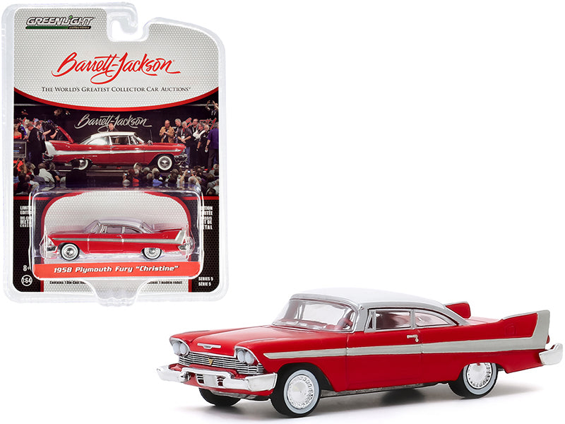 "1958 Plymouth Fury ""Christine"" Red with White Top (Lot #2006) Barrett Jackson ""Scottsdale Edition"" Series 5 Diecast 1:64 Model Car - Greenlight - 37200B"