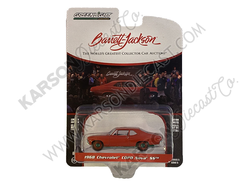 "CHASE 1968 Chevrolet COPO Nova SS Red with Red Wheels (Lot #1268) Barrett Jackson ""Scottsdale Edition"" Series 5 Diecast 1:64 Model Car - Greenlight - 37200C"
