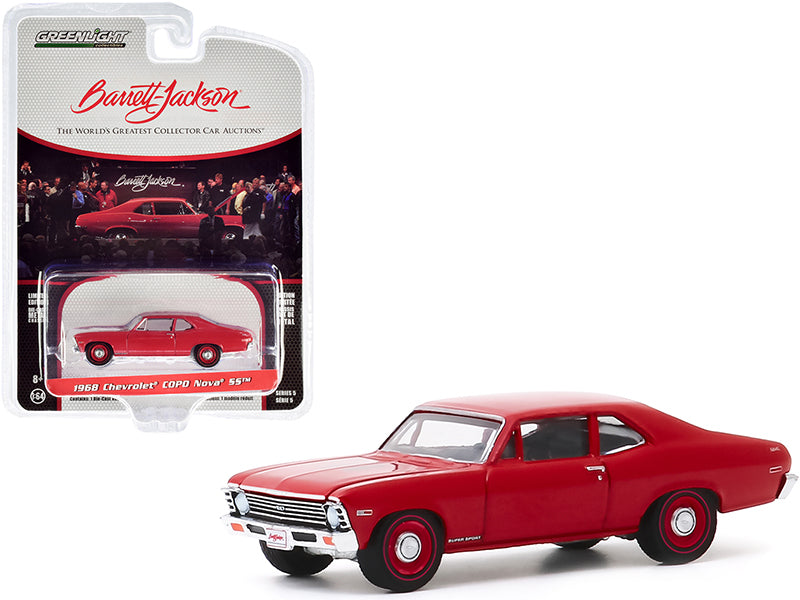 "1968 Chevrolet COPO Nova SS Red with Red Wheels (Lot #1268) Barrett Jackson ""Scottsdale Edition"" Series 5 Diecast 1:64 Model Car - Greenlight - 37200C"