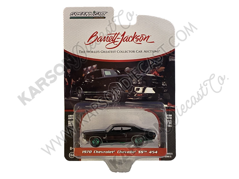 "CHASE 1970 Chevrolet Chevelle SS 454 Black with White Stripes (Lot #1075) Barrett Jackson ""Scottsdale Edition"" Series 5 Diecast 1:64 Model - Greenlight - 37200D"