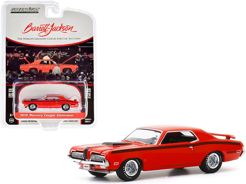 "1970 Mercury Cougar Eliminator Orange with Black Stripes (Lot #1082) Barrett Jackson ""Scottsdale Edition"" Series 5 Diecast 1:64 Model - Greenlight - 37200F"