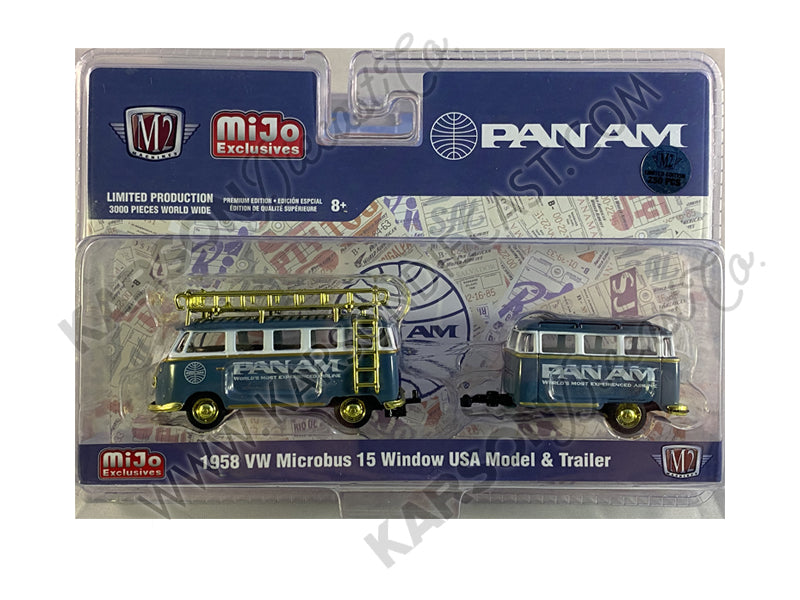 "CHASE 1958 Volkswagen Microbus 15 Window U.S.A. Model with Travel Trailer ""PAN AM"" Limited Edition to 3000 pieces 1:64 Diecast Model - M2 Machines 38100-MJS04"