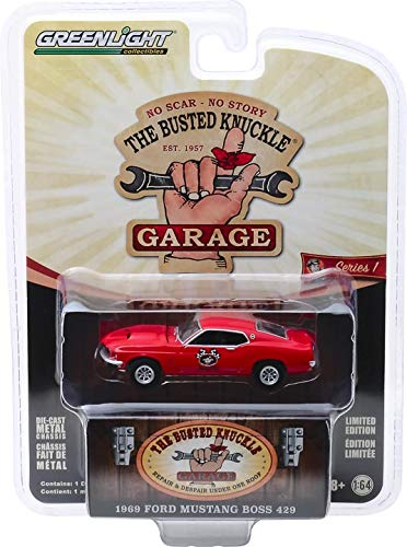 "1969 Ford Mustang Boss 429 Stock Car Racing ""Busted Knuckle Garage"" Series 1 1:64 Diecast Model Car - Greenlight - 39010D"