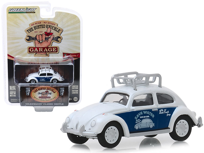 "Classic Volkswagen Beetle w/ Roof Rack White ""Save Water"" ""Busted Knuckle Garage"" Series 1 1:64 Diecast Model Car - Greenlight - 39010F"