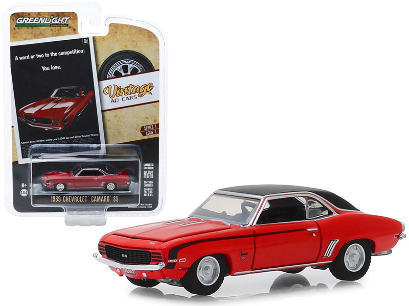 "1969 Chevrolet Camaro SS Red with Black Top ""A Word Or Two To The Competition: You Lose."" ""Vintage Ad Cars"" Series 1 1/64 Diecast Model Car - Greenlight - 39020A"