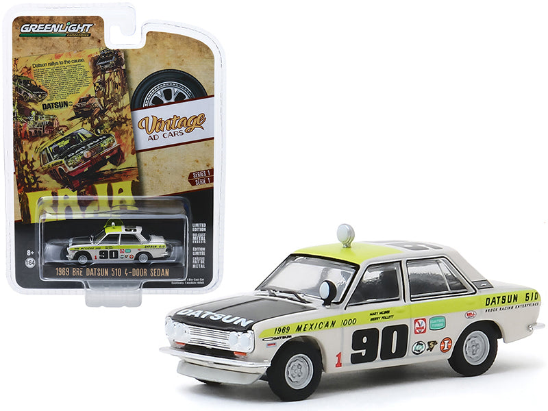 "1969 Datsun 510 4-Door Sedan #90 ""1969 Mexican 1000"" ""Datsun Rallys To The Cause"" ""Vintage Ad Cars"" Series 1 1/64 Diecast Model Car - Greenlight - 39020B"