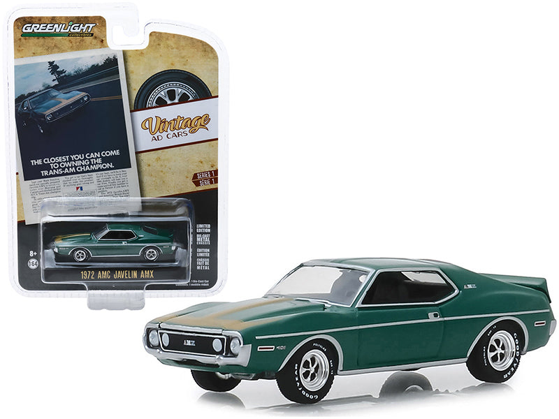 "1972 AMC Javelin AMX Green with Gold Stripes ""The Closest You Can Come To Owning The Trans-Am Champion"" ""Vintage Ad Cars"" Series 1 1/64 Diecast Model Car - Greenlight - 39020D"
