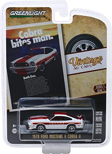"1978 Ford Cobra Mustang II ""Cobra Bites Man"" ""Vintage Ad Cars"" Series 1 1/64 Diecast Model Car - Greenlight - 39020F"