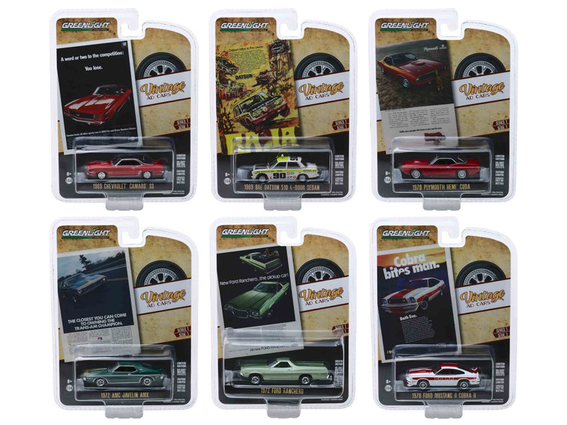 """Vintage Ad Cars"" Series 1, 6 piece Set 1/64 Diecast Model Cars - Greenlight - 39020SET"