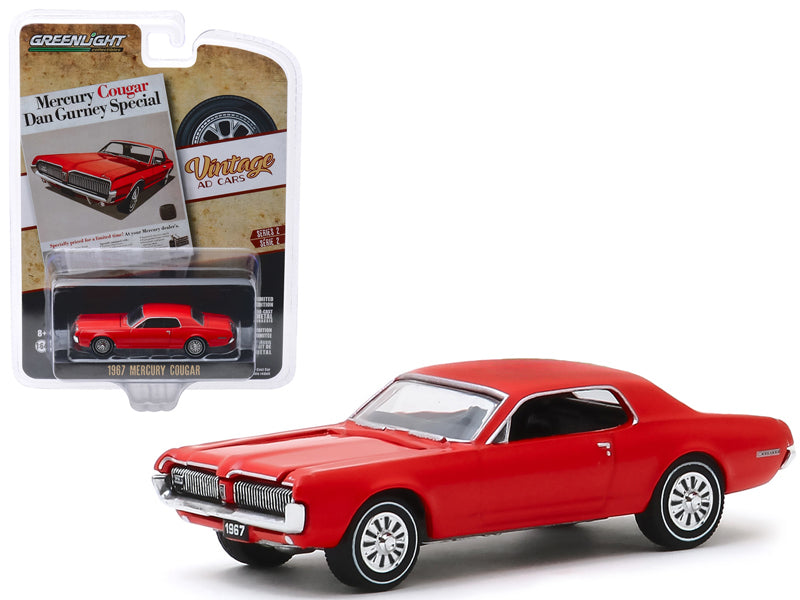 "1967 Mercury Cougar Red ""Mercury Cougar Dan Gurney Special"" ""Vintage Ad Cars"" Series 2 Diecast 1:64 Model - Greenlight - 39030B"