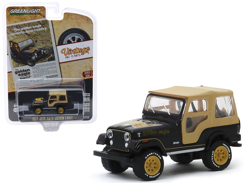"1977 Jeep CJ-5 Golden Eagle Black with Tan Top and Gold Wheels ""The Golden Eagle Comes to Jeep Country"" ""Vintage Ad Cars"" Series 2 Diecast 1:64 Model - Greenlight 39030E"
