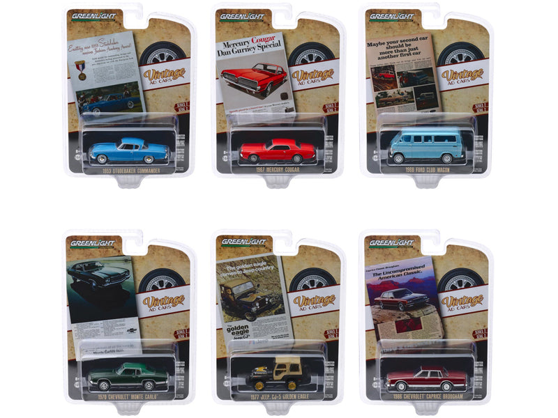 """Vintage Ad Cars"" Series 2, 6 piece Set 1:64 Diecast Model Cars - Greenlight - 39030"
