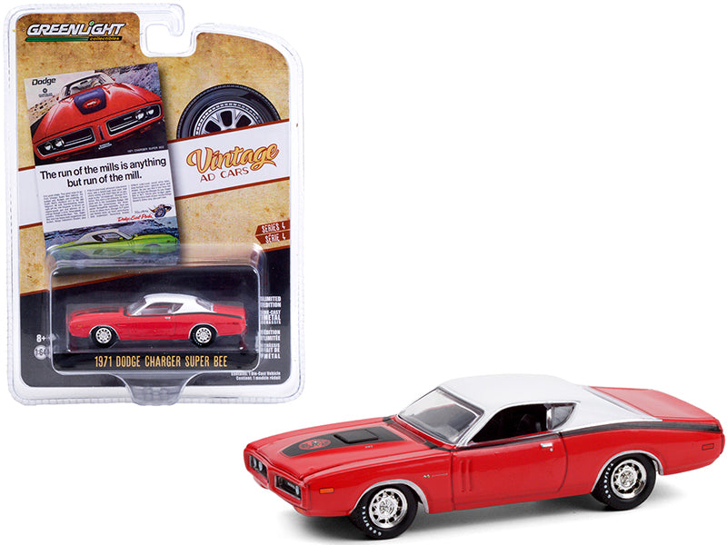 "1971 Dodge Charger ""Super Bee"" Red with Black Stripes and White Top ""Vintage Ad Cars"" Series 4 Diecast 1:64 Model Car - Greenlight 39060A"