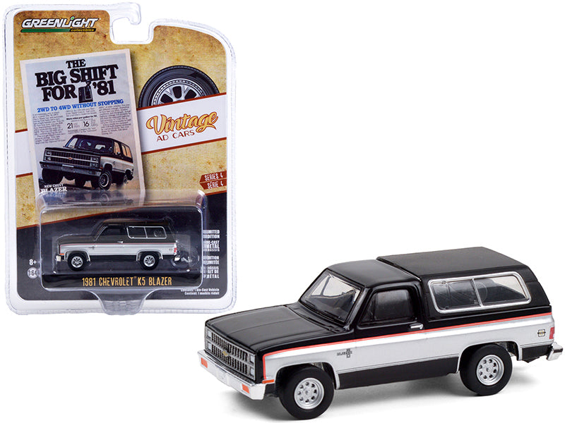 "1981 Chevrolet K5 Blazer Black with Silver Sides ""The Big Shift For '81"" ""Vintage Ad Cars"" Series 4 Diecast 1:64 Model - Greenlight 39060E"