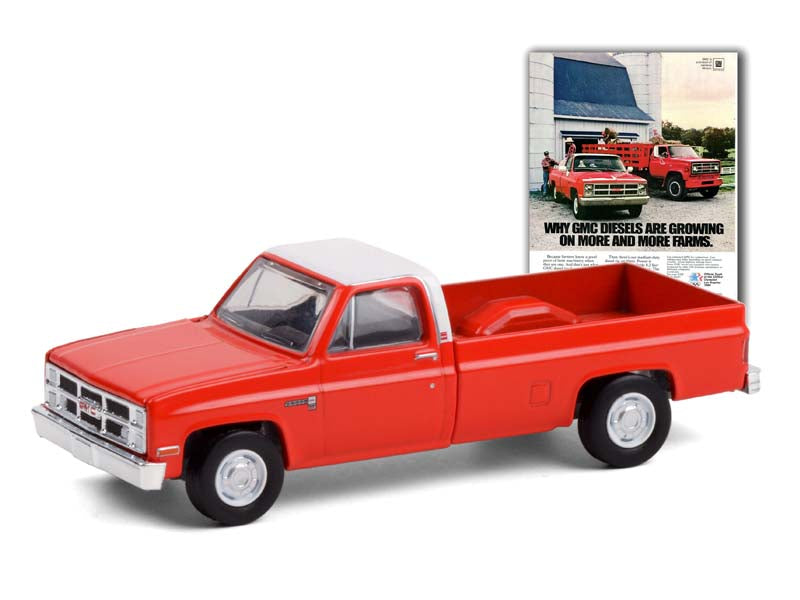 "1984 GMC Sierra 2500 Pickup Truck Orange with White Top ""Vintage Ad Cars"" Series 4 Diecast 1:64 Model - Greenlight 39060F"