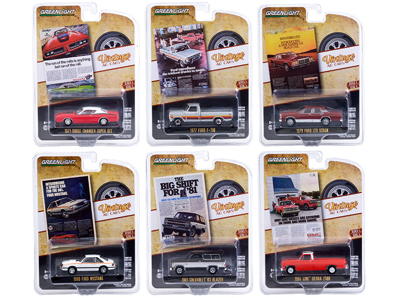 """Vintage Ad Cars"" Set of 6 pieces Series 4 Diecast 1:64 Model - Greenlight 39060"