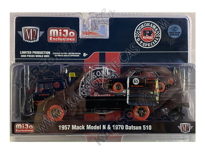 CHASE 1957 Mack Model N Flatbed Truck & 1970 Datsun 510 #65 Yokohama G.T. Special Limited Edition 3,000 pcs 1:64 Diecast Models - M2 Machines 39200-MJS02