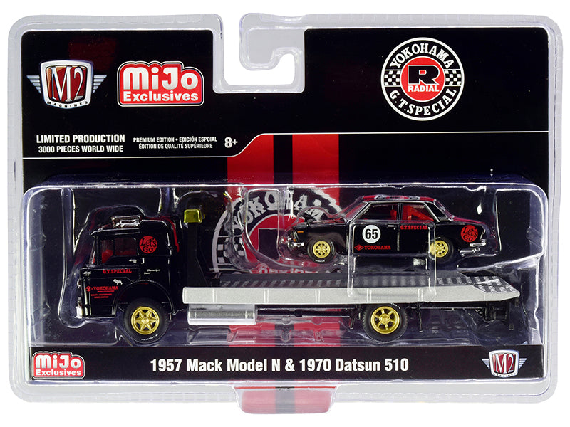 1957 Mack Model N Flatbed Truck & 1970 Datsun 510 #65 Yokohama G.T. Special Limited Edition 3,000 pcs 1:64 Diecast Models - M2 Machines 39200-MJS02