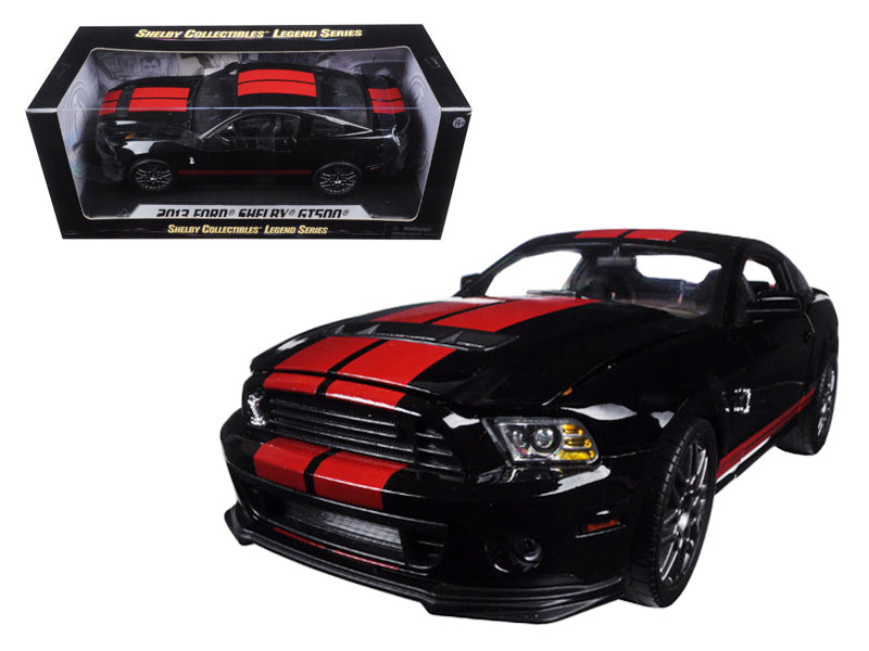 2013 Ford Mustang Shelby Cobra GT500 SVT Black w/ Red Stripes 1/18 Diecast Model Car - Shelby Collectibles - 399BK