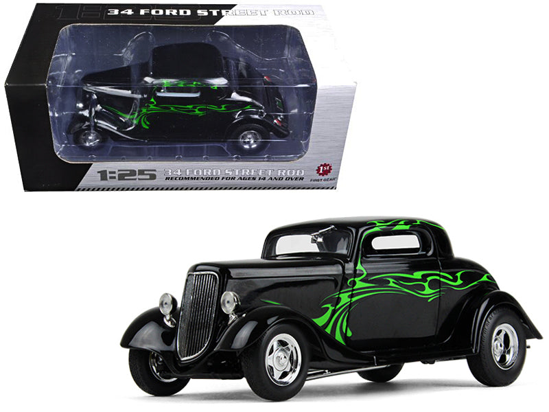 1934 Ford Coupe Street Rod Black w/ Lime Green 1/25 Diecast Model Car - First Gear - 40-0382