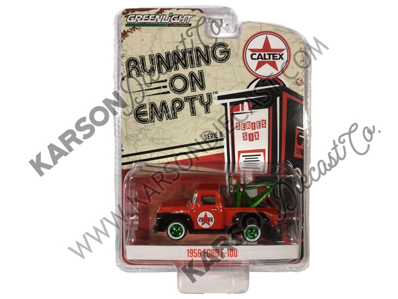 1956 Ford F-100 Tow Truck Red w/ Drop-In Tow Hook Caltex 1:64 Diecast Model - Greenlight - 41060A - CHASE GREEN MACHINE