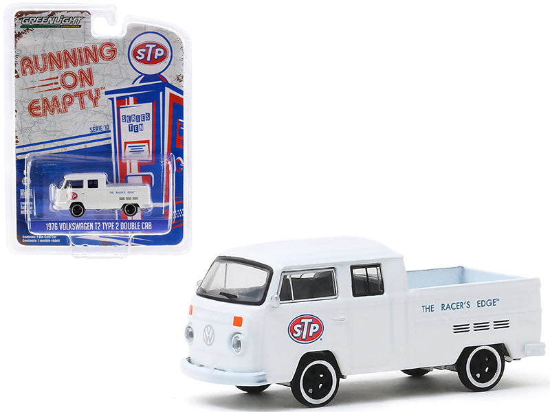"Volkswagen T2 Type 2 Double Cab Pickup Truck White ""STP"" ""The Racer's Edge"" ""Running on Empty"" Series 10 Model 1:64 Diecast - Greenlight - 41100D"