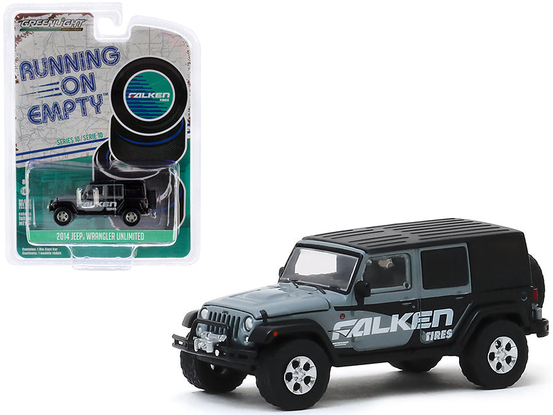"2014 Jeep Wrangler Unlimited Gray and Black ""Falken Tires"" ""Running on Empty"" Series 10 Model 1:64 Diecast - Greenlight - 41100E"